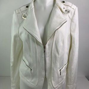 WHBM Moto Jacket Cream White Buckels Zipper 10